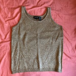 Jeanne Pierre Gold Thread Knit Top